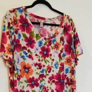 Womans spring floral top short sleeve plus size